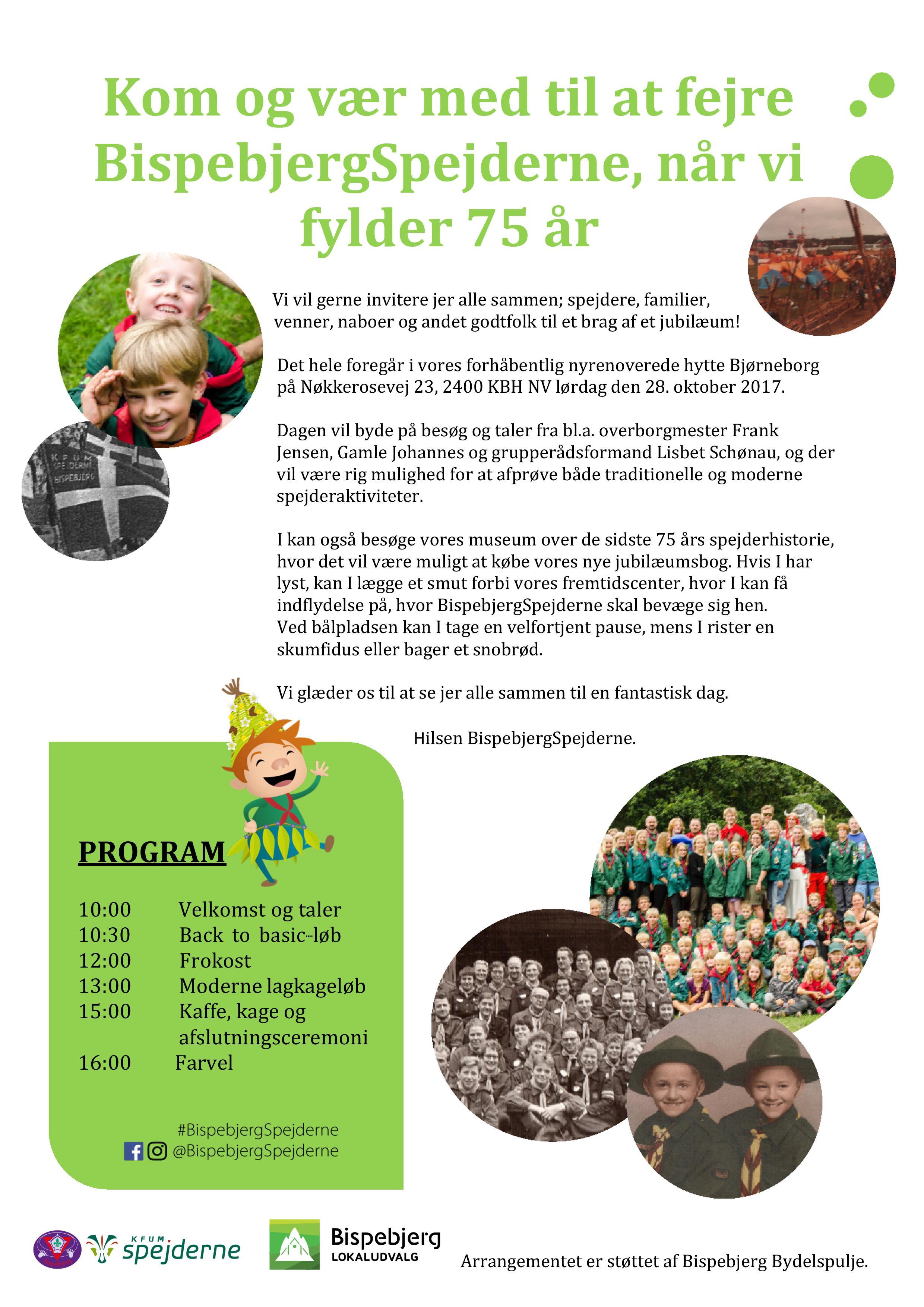 Invitation til 75 års jubilæum - med støtte fra Bispebjerg Bydelspulje